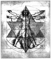 Рисунок Леонардо Да Винчи с наложением МерКаБы на «Виртувианского человека»